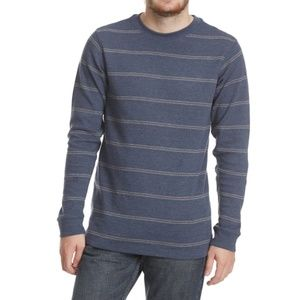 Men's Thermal Striped Crewneck Long-Sleeve Shirt
